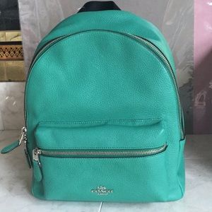 NWT Coach Medium Charlie Green Leather Backpack